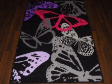 BARGAIN PRICE BUTTERFLYS NON SLIP BACKING 100X160CM MATS/RUGS BLACK/PURPLE/GREY